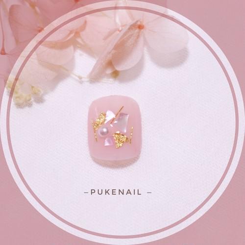 [Pukeネイル[F.04] ふんわりピンク・シェル・フットネイルチップ・ (2個1セット)