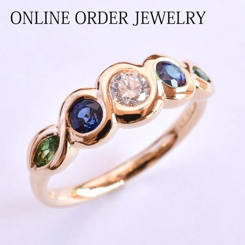 【オーダーメイド事例】K18YG ダイヤモンド 色石 ハーフエタニティーリング