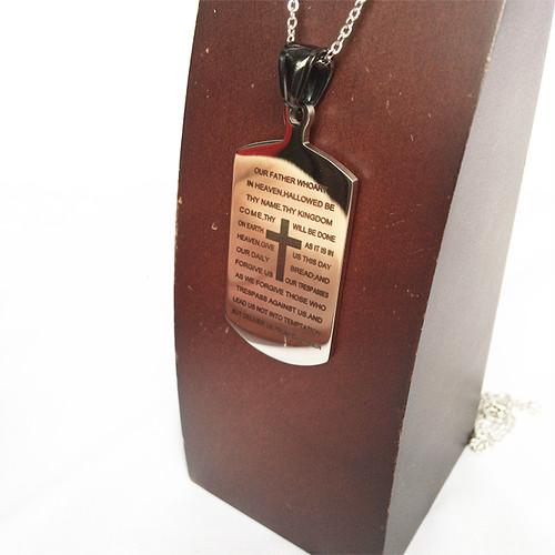 クロス ドッグタグ DOG TAG バイブル 聖書 十字架 銀 シルバー プレート ネックレス 1235