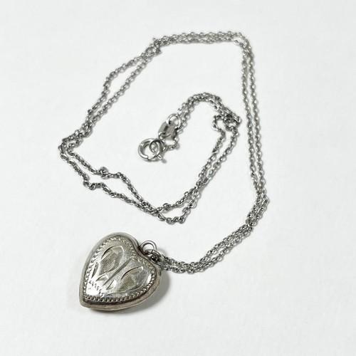 Vintage Sterling Carved Heart Pendant Necklace