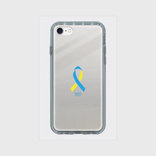 iPhone7 ミラーケース シルバー ダウン症候群アウェアネスリボンデザイン