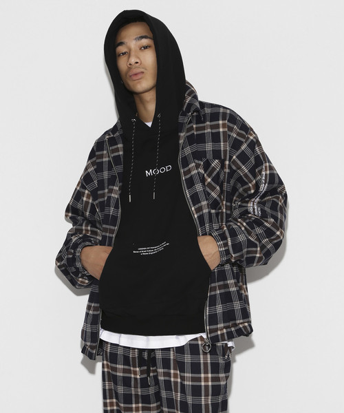 Over Sized TR Check Blouson [Brown]