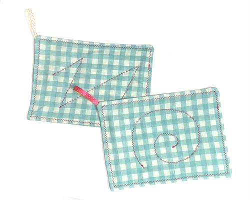 ダブルガーゼ 雑巾 台布巾 ぞうきん 台ふきん 青緑2枚セット_A