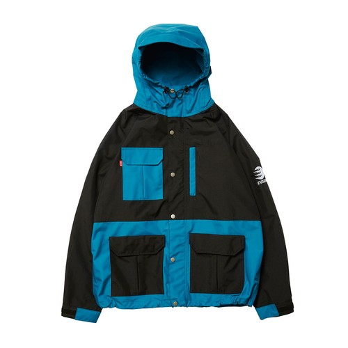 EVISEN BLUE MOUNTAIN PARKA L TURQUOISE x BLACK  エビセン マウンテンパーカー