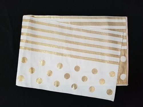 リバーシブル織兵児帯 水玉ボーダー ホワイト×ゴールド