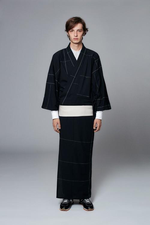 きもの / 片貝木綿 / 2LINE / Black×White(With tailoring)