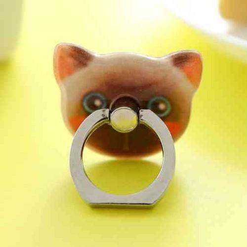 かわいい 黒鼻猫 のスマホ ホールドリング スタンド 落下防止 携帯スタンド 携帯ホルダー pgab007