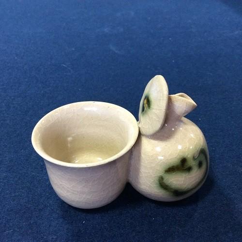 【雪舟焼】袋盃(ふくろさかずき) たぬき