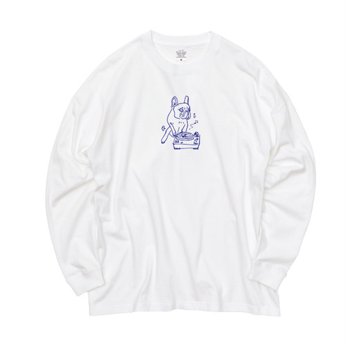 hntbk long sleeve tee french bulldog(WHITE)