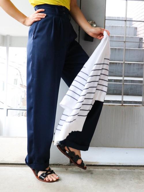 Navy high-waist pants