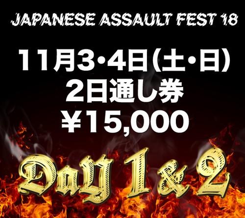 JAPANESE ASSAULT FEST 18 2日通し券(11月3日 & 4日)