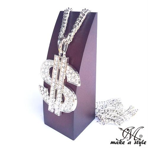 90cm ブリンブリン ドル $ ジルコニア シルバー 銀 SILVER ネックレス ヒップホップ HIPHOP 552