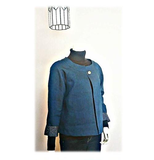 9*紬リメイクショートジャケット(紺)
