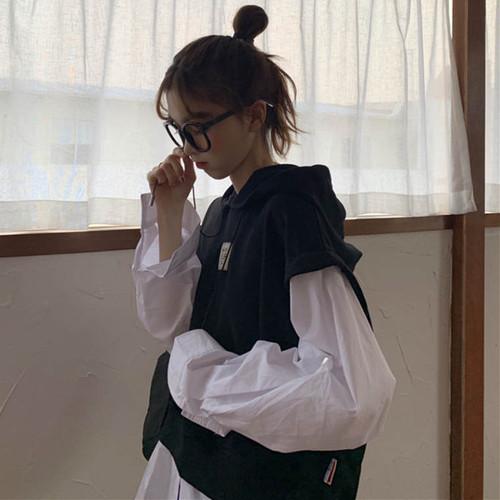 【送料無料】優秀おしゃれトップス ♡ カジュアル 重ね着風 フェイクレイヤード  シャツ パーカー プルオーバー