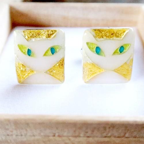 カフス 純銀銀彩 白猫 / white cat
