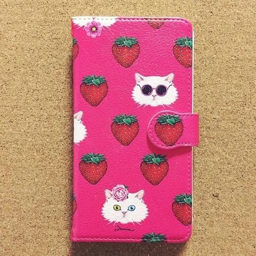手帳型スマホケース「ペルシャと苺」(iPhone5/5S/SE ・iPhone6/6s ・iPhone7 ・iPhone8 ・iPhoneⅩ・Android S・M)