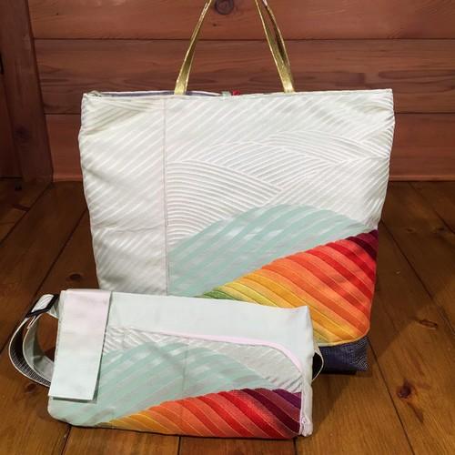 帯のバッグとウエストポーチ『レインボー』
