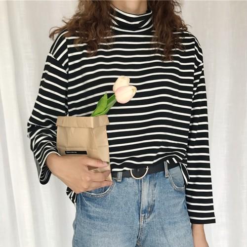 【トップス】ハイネックプルオーバーストライプ柄Tシャツ23678743