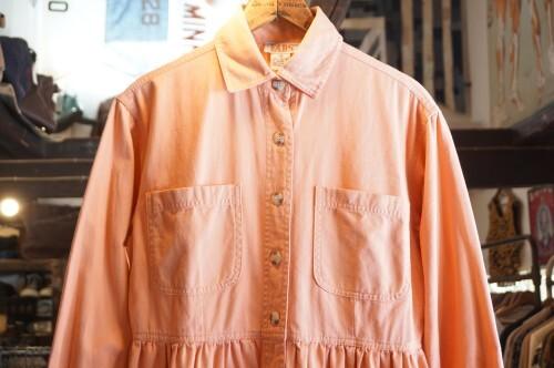 80's salmon pink long shirt Dress