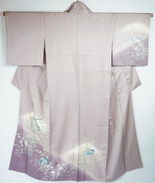 三越謹製 訪問着 正絹 花柄 薄紫 037