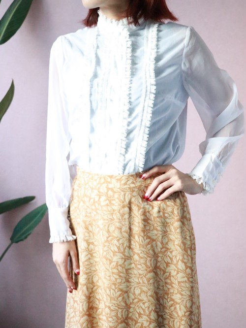 60's white frill blouse