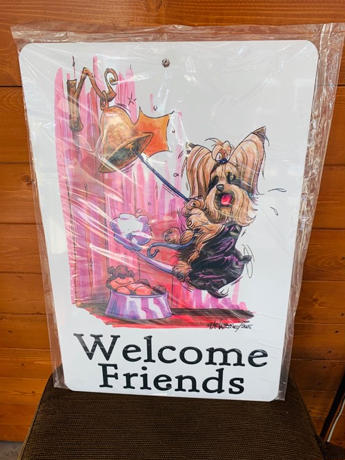 Welcome Friends サインプレート ヨークシャーテリア