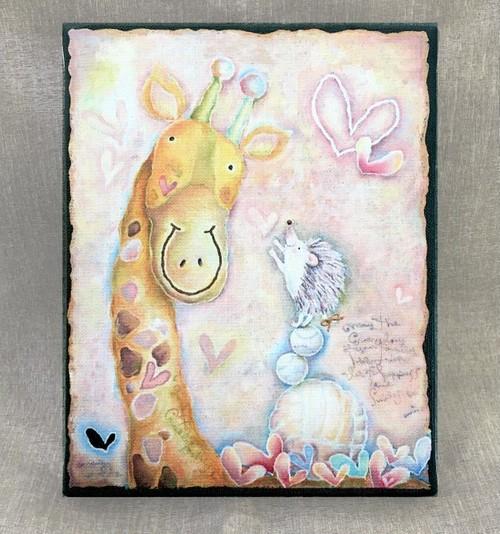 キリンさんとハリネズミ(アートキャンバスパネル)