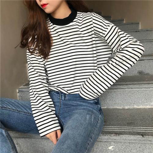 韓国オシャレ合わせやすいストライプ柄長袖スリムゆったりTシャツ・トップス