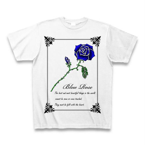 青い薔薇一輪のTシャツの枠付きの丸首だよん☆