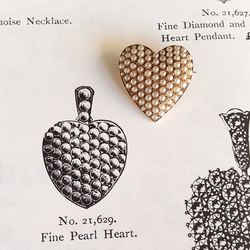 Victorian Seed Pearl Heart Brooch