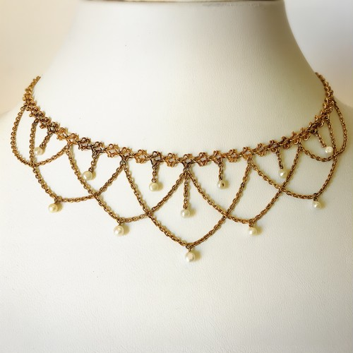 Gold & Natural Pearl Necklace