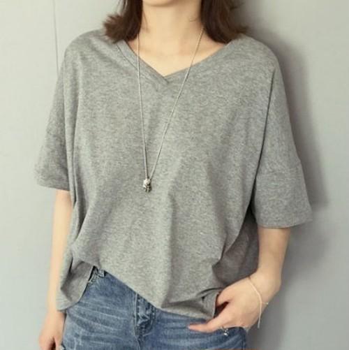 ドルマンスリーブ グレー 無地 Vネック ゆったり半袖Tシャツ N144