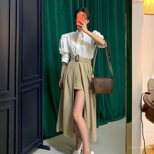 【セットアップ】春夏ファッション韓国系ハイウエストレトロパンツ・スカート+シンプル無地シャツセットアップ