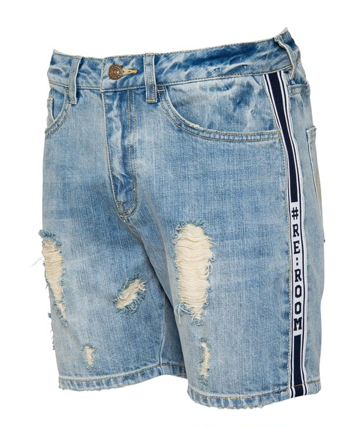 SIDE LINE VINTAGE DENIM SHORTS[REP075]
