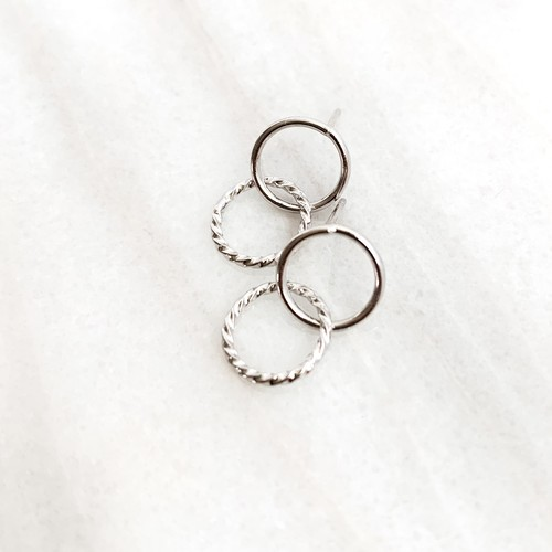 Double Ring Pierce silver n458