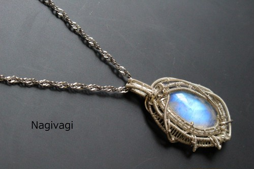 Blue moonstone silver925 wire wrapping pendant