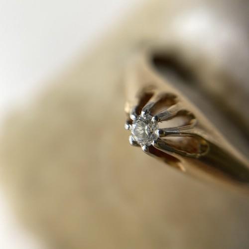 ヴィンテージK18ダイヤモンド・ソリティアリング / ac0219