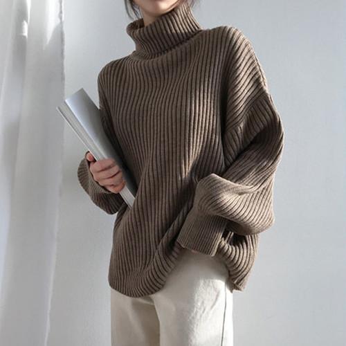 【トップス】ファッションハイネックゆったり合わせやすいニットセーター