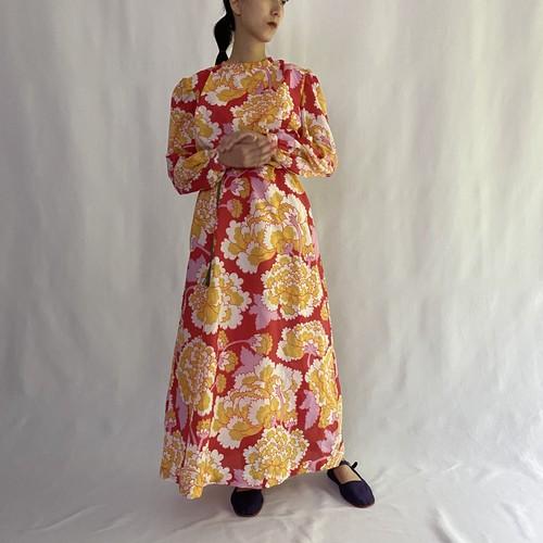 oriental flower smock maxi dress (V5064A)