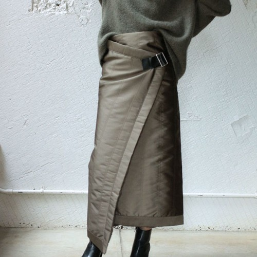 【pelleq】 Quilt Twill Wrap Skirt