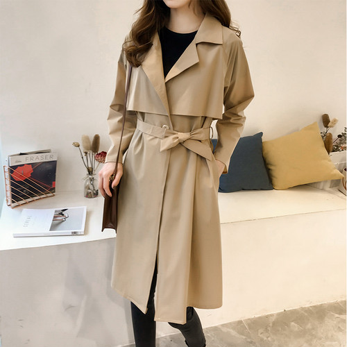 2色 トレンチコート ロング丈 ベージュ ブラック 大きいサイズ シンプル 大人カジュアル レディース ファッション 韓国 オルチャン