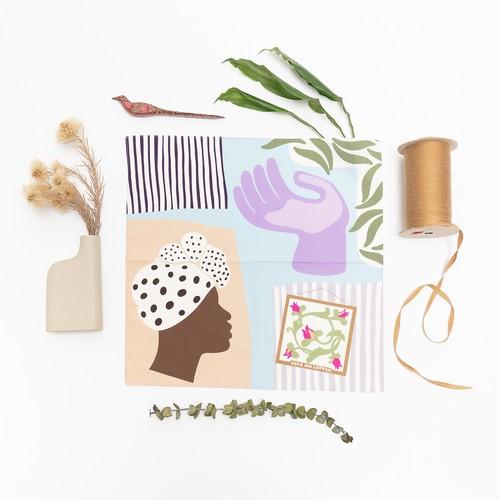 Organic cotton 'Haiti' Lilac&Strawberry Red ハンカチ/ポケットチーフ