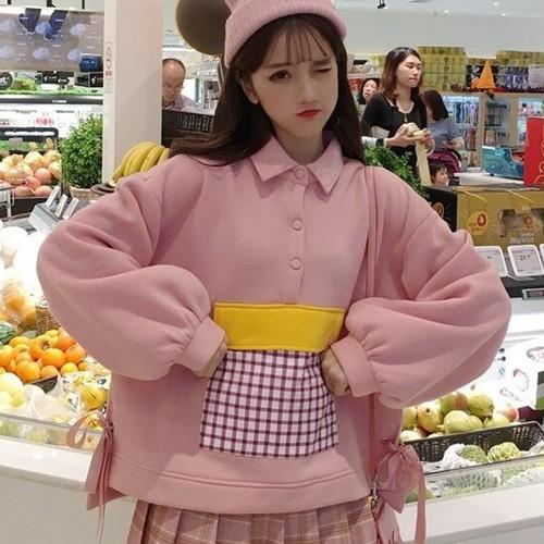 【トップス】配色韓国風秋冬カジュアル清新可愛いPOLOネック長袖パーカー
