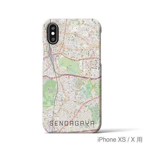 【千駄ケ谷】地図柄iPhoneケース(バックカバータイプ・ナチュラル)
