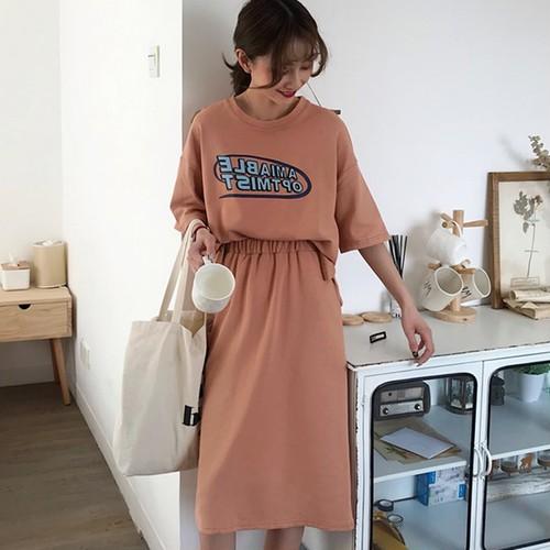 【セットアップ】2点セット新作ファッションルーズシンプルTシャツハイウエストスカート