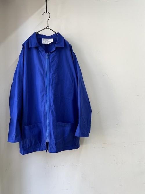 1980's Vintage French Blue Zip Up Coat(1980年代頃 フランス 青いジップアップコート)