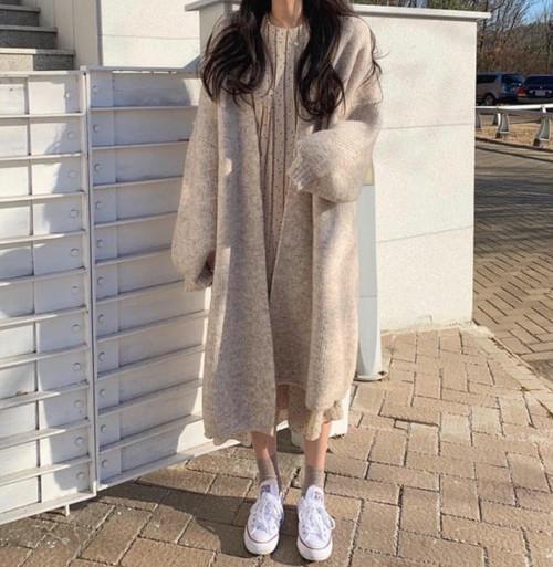 ニットカーディガン アウター 羽織 オーバーサイズ ボリューム袖 ゆったり カジュアル 韓国 オルチャン ファッション