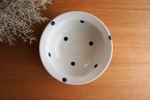 砥部焼/リム付鉢/水玉