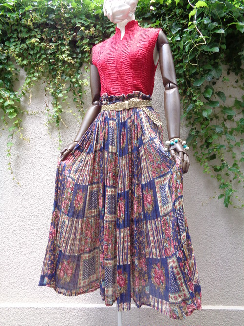 Indian cotton flower pattern sheer skirt インド綿 花柄 シアー スカート
