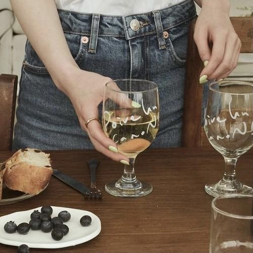 french lettering wine glass / フレンチ レタリング ワイングラス ガラス コップ 韓国 北欧 雑貨